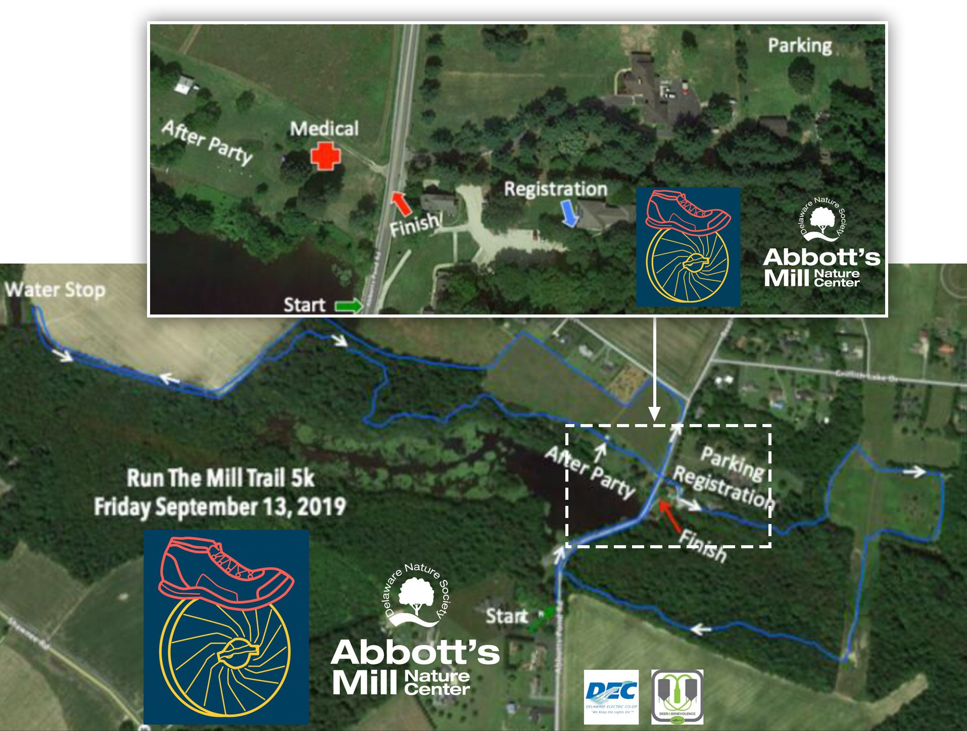 Abbotts Run The Mill 5K map 2019